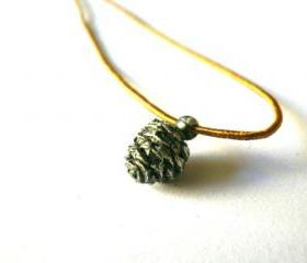 Pine cone necklace-Tiny -Golden Brown silk thread-Lost wax method-Oxidised-Nature