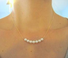 Pearl Necklace, Row of White Pearls, Bridesmaids Jewelry, Bridal Jewelry