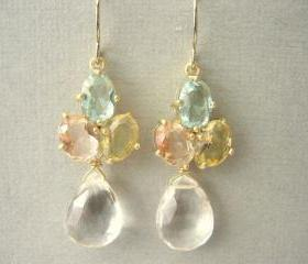Pastel, Green, Yellow, Pink Glass and Clear Quartz Earrings