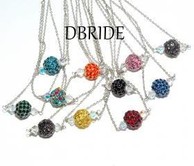 Pave Crystal Bead Necklace - Silver Necklace - Bridesmaids Jewelry - Any Color Bead - Bridal Necklace