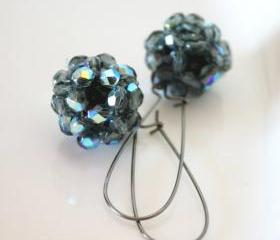 glamour night - earrings- beaded - night black blue shining