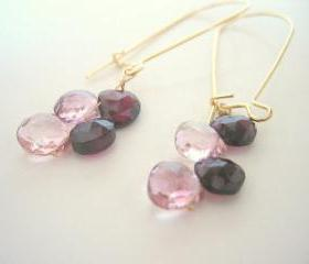 Pink Quartz and Garnet Earrings