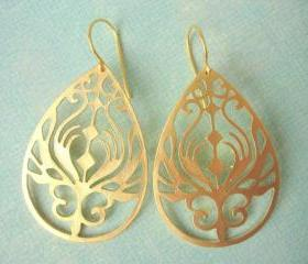 Large Gold Earrings, Matte Gold Filigree Teardrop