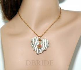 Heart Necklace - Gold Plated Heart Pendant - Rhinestone Enamel Heart Necklace - Teens Jewelery - Gifts