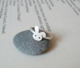 bunny rabbit ring in sterling silver No. 2, handmade in beautiful Cornwall, UK