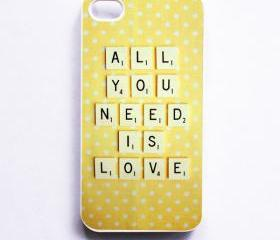 iPhone Case. Vintage Scrabble. All You Need is Love. White Phone Case. iPhone 4 and 4S Accessory. Yellow White Polka Dots. Mothers Day.