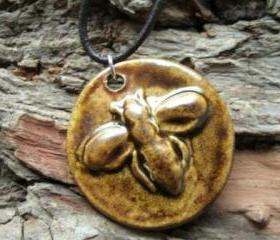Stoneware Bee Necklace