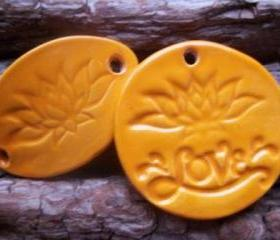 Lotus Flower stoneware bracelet connector and pendant set