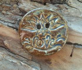 Love /lotus flower button large handmade