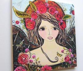 Wood mounted print wall art Flora folk art angel large 10 x 10 inch hand worked