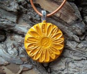 Flower shaped handmade ceramic pendant necklace