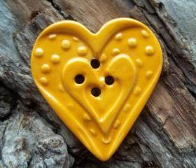 Heart shaped handmade oversized stoneware clay button