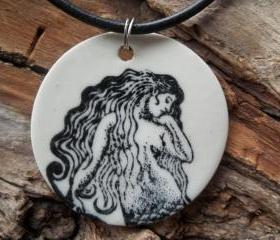 Mermaid stoneware clay ceramic pendant necklace