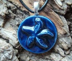 Seashell handmade ceramic pendant necklace