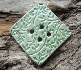 Oversized Ceramic Button soft mint green with large leaves