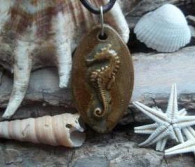 Seahorse Handmade ceramic pendant necklace