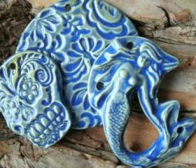 Stoneware clay Mermaid pendant