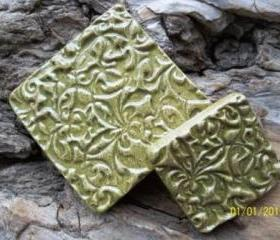 Speckled sage stoneware clay square stoneware cabochon