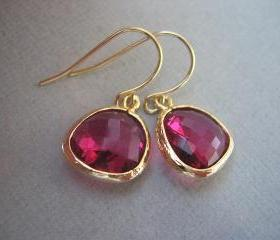 Ruby, Fuschia Earrings, Glass, Gold Earrings, Hot pink earrings