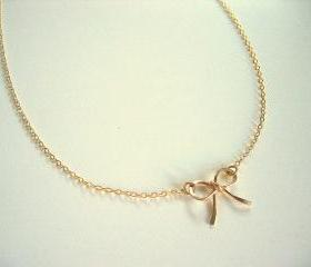 Gold Bow Necklace, Gold Ribbon Necklace
