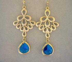 Capri Blue and Gold Peacock Earrings