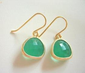 Spring Green Earrings, Palace Green Opal Gold Trimmed Earrings