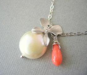 Charm Necklace, Silver Orchid, Coin Pearl, and Coral Necklace