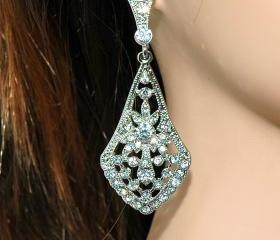 Wedding Bridal Art Deco Diamond Style Dangle Earrings - Bridal Earrings - Rhinestone Earrings - Diamante Wedding Jewellery