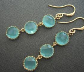  Aqua Circle Drops, Aqua and Gold Earrings