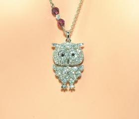 Owl Necklace - SIlver Plated Owl Pendant - Rhinestone Owl Necklace with Swarovski Crystals