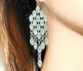Chandelier Bridal Earrings - Silver plated Rhinestone Earrings - Diamante Chandelier Earrings