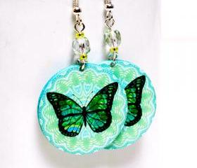 Butterfly Earrings - Blue and Mint Pastel palette - Medium size 3cm Ø - double faced
