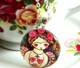Frida Mermaid art pendant