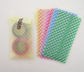 Set of Handmade 12 stripe pastel glassine envelopes bags - - 14cm X 7cm perfect for small card and coin