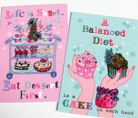 Pack of 2 A6 Postcard Prints 'Eat Dessert First' & 'Balanced Diet'