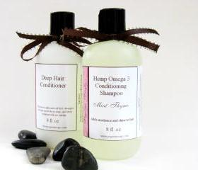 Hemp Omega 3 Shampoo and Deep Hair Conditoner Set 8 oz Select Your Own Scent