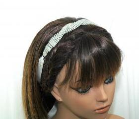 Bridal Headpiece - Bridal Ribbon Headband - Rhinestone Headpiece - Wedding Headband - Diamante Headpiece