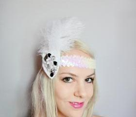 1920s Beaded and Tulle Feather White Headband