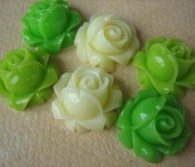 6PCS - Cabbage Rose Flower Cabochons - 15mm - Resin - Green, Apple Green and Ivory - Findings by ZARDENIA