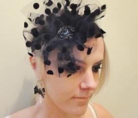 SALE 1920s Flapper Style Black Poka Dot Headband Headpiece
