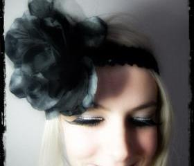 1920s black large flower flapper headband races