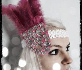 1920s Hot Pink Gemstone Headband