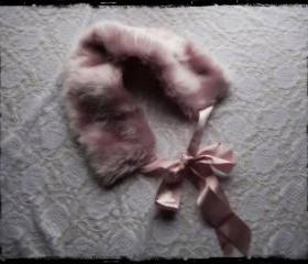 Pink Faux Fur Collar with Ribbon 1920s pin up style