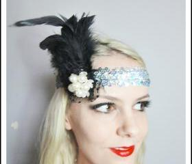 1920s black feather silver flapper headband races