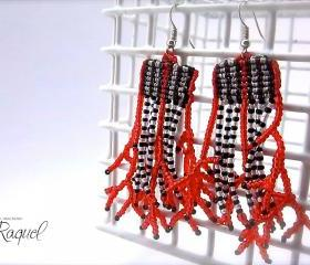 Micromacrame TUTORIAL Coral Earrings