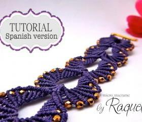 ESQUEMA en ESPAOL / Shells Micro-macrame Bracelet 