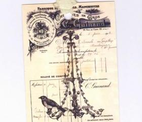 Tags Vintage Bird On Chandelier French Gift Tags