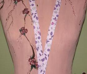 Fabric Lanyard - Purple With Birds And Flowers
