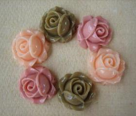 6PCS - Cabbage Rose Flower Cabochons - 15mm - Resin - Latte, Salmon and Mauve - Findings by ZARDENIA