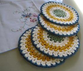 Set of 4 plate coasters - cream with other colors(DC4)